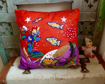 OOAK Original Vintage Japanese Textile Collaged With Fish and Flowers, Appliqued, Embroidered and Quilted Cushion Cover