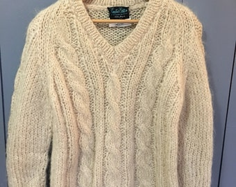 Mohair sweater, Cable Knit,  vintage ITALY, Small