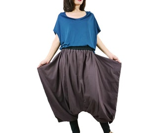 Funky Harem Boho Drop Crotch Dark Brown Cotton Jersey Pants With Wide Flap Side And Black Waist