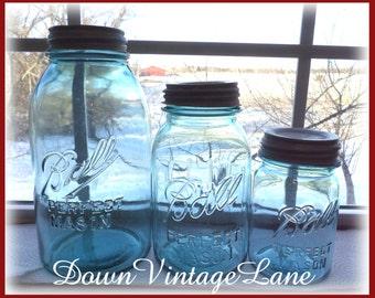 Blue Ball Jars Set of 3 --- Half Gallon, Quart and Pint Sized Vintage Jars Perfect Mason Antique Blue Jars with Zinc Lids