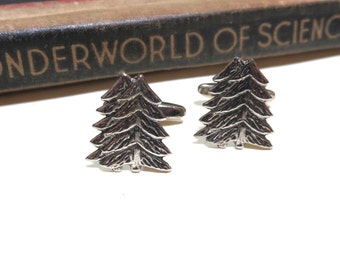 Antiqued Tree Cuff Links - Christmas Tree Cufflinks - Mens Gift Soldered Wedding - Pine Evergreen Nature Natural Twin conifer
