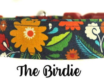 "Multicolored Floral Dog Collar ""The Birdie"""