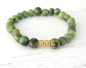 8mm Acai Seed Bead Bracelet / Mens Bracelet / Green Acai Bracelet / Gold Vermeil / Nature Inspired Tribal Boho Beaded Bracelet greenery