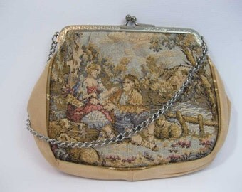 """Vintage Tapestry Coin Purse Change Purse With Attached Mirror """"Little Lady"""""""