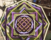 Heather and Sage, a 36-inch, 12-sided mandala with a Tibetan center by Elizabeth Tingley