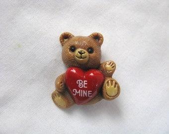 Hallmark Be Mine Teddy Bear w/ heart brooch pin 1985