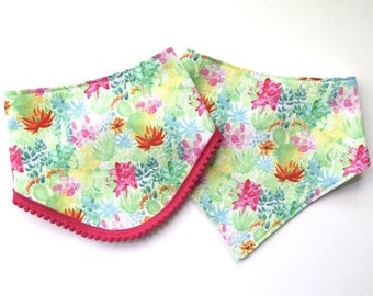 Cactus Bibs - Bibdana - Bandana Style Drool Bib - Baby Gifts - Boho Baby - Summer Style - Southwest Desert Style - Cactus Flowers