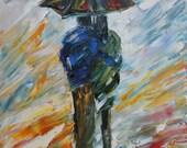 Reserved for Meghan Custom original oil on canvas rain couple by Karen Tarlton palette knife painting - final payment