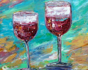 Wine Glasses painting original oil 12x12 abstract palette knife impressionism on canvas fine art by Karen Tarlton