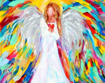Angel of my Heart oil painting original abstract palette knife impressionism on canvas fine art by Karen Tarlton