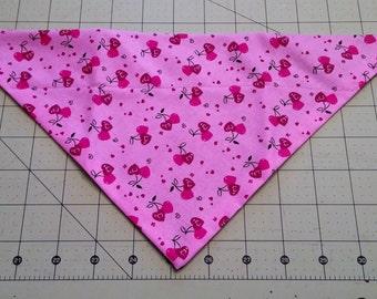 Valentine Dog Bandana, February, neckerchief, hearts, red, pink, cherry