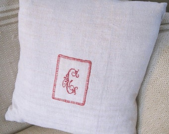 """Antique hand stitched """"C"""" monogram cushion made with antique French hemp, throw pillow, gift"""