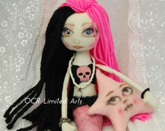 Siren AMATHEIA & her Starfish Gothic primitive folk art Doll OOAK Dark Mermaid Emo collectable handmade goth tattered home decor