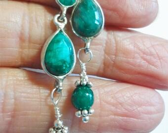 Emerald Earrings Emerald Faceted Long Dangle Earrings in Solid Sterling Silver Mountings w Sterling Hook Ear Wires