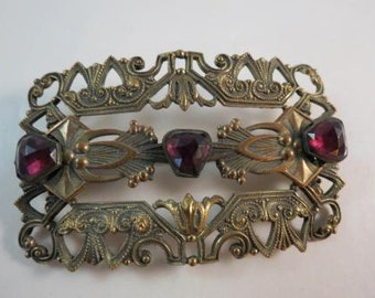 Art Deco Egyptian Revival Purple Glass Stone Brass Brooch