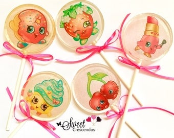 Shopkins Inspired Lollipops- Hard Candy Lollipops- Shopkins Birthday- Party Favors- Candy