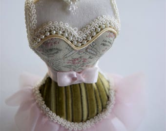 CORSET MANNEQUIN Tree ORNAMENT Baby Rose Pink Ruffle Green Dress Form Gimp Trim Pearl Woman Victorian Lady Floral Flower Figural Bust Skirt