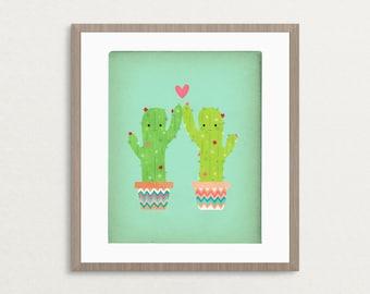 Cacti High Five - Cactus Print - 8x10 Archival Art Print