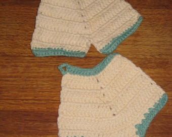Set Vintage Pot Holders Britches Bloomers Heavy Cotton Thread Teal Cream Crochet Knit ? Vintage Kitchen Decor Farmhouse Fifties Glamper Gift