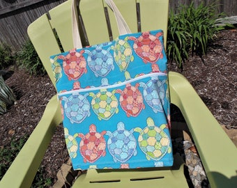 Extra Large Beach Bag, Family Size Tote Bag, Summer Theme, Turtles, Pool Bag