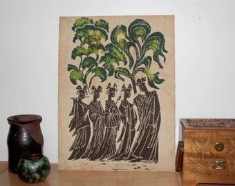 """Vintage Thai Musicians Batik Painting  1960s -  Thailand Buddhist Monks 12 x 16"""""""