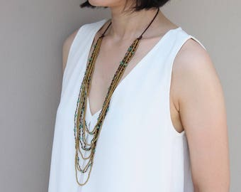 Jade Layered Nine Strand Woven Necklace