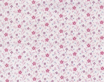 "Mini Hot Pink & Lavender Flowers On White Background ~ Cotton Fabric Remnant 17"" x 22"" Fat Quarter ~ 4 Quilting ~ Doll Clothes  # A 122"