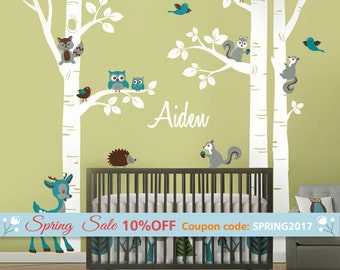 Birch Trees Wall Decal, Birch Trees and Owls Wall Sticker for Nursery, Trees Wall Decal, Birch Trees and Animals Wall Decal for Baby Room