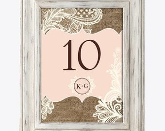Table Numbers - Rustic Burlap and Lace / Wedding / Bridal Shower / Baby Shower / Birthday Party