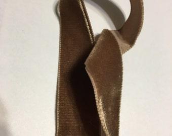"""Vintage Velvet mocha brown ribbon 7/8 """""""