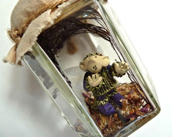 Vintage Winged Fairy Elf Dragonfly Trapped in Jar