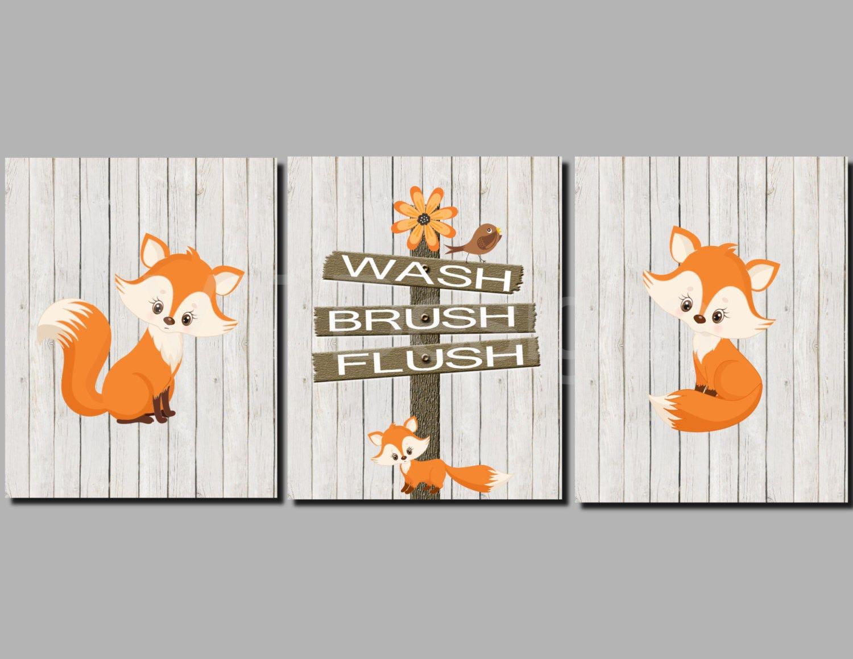 Fox bathroom art kids bathroom art woodland animals toddler for Animal bathroom decor