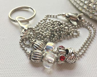 Red Airplane Lanyard Ball Chain ID Badge with Silver Pandora style beads