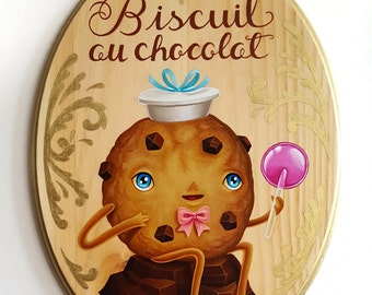 Biscuit au chocolat - original painting by Grelin Machin
