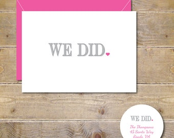 Wedding Thank You Cards, We Did, Just Married, Wedding Thank Yous, Bridal Shower Thank You Cards, Wedding Thank You Notes, Affordable