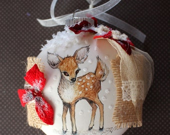 Pen and Ink Art Fawn Glass Ornament with Poinsettia flowers, Burlap, Beads, Snow and Glitter