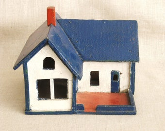 Antique Folk Art Miniature House, Handmade, Scale Model Building, Architecture, Architectural Model, Primitive, Train Set, Holiday Decor