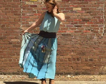 Maxi BLUE sweater skirt cashmere lambs wool soft warm winter handmade upcycled tomboyART tomboy art OoaK custom