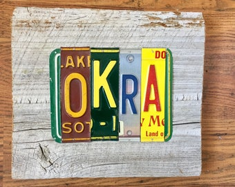OKRA license plate sign tomboyART art recycled upcycled SOUL FooD pig BBQ Mississippi blues