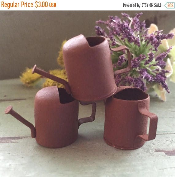 SALE Mini Rusty Watering Cans,  3/4 inch, Packaged set of 3 pieces, Fairy Garden Accessory, Garden Decor, Primitives, Miniature Gardening