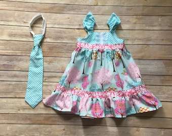 Spring Boutique brother sister set with flutter sleeve  Dress and matching boy tie, sizes 1-9