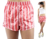 Vintage ADIDAS Satin Running Shorts Striped White Coral Athletic Gym Workout Small S