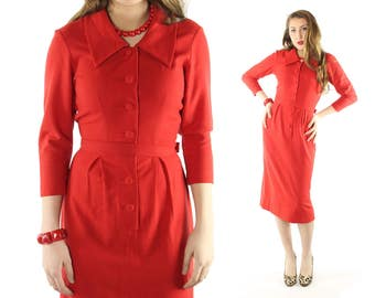 Vintage 50's Wiggle Dress Orange Red Wool Long Sleeves Shirtwaist Collared Button Up 1950s Small S