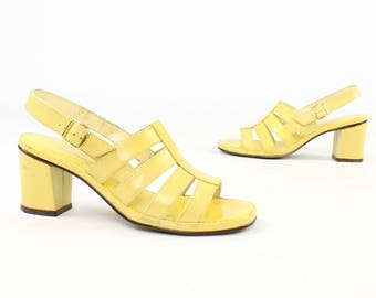 Vintage 60s Strappy Sandals Block Heels Pumps Mod Yellow Shoes 1960s Womens Size 6.5 Joyce California Spring Easter