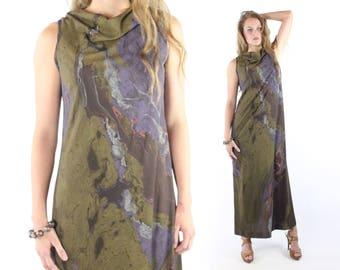70s Don Luis de Espana Maxi Dress Sleeveless Jersey Knit Vintage 1970s Medium M Designer Hippie Boho