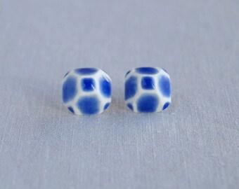 GEM stud earrings. Geometric white porcelain, cobalt blue ceramic glaze, sterling silver posts, trending jewellery