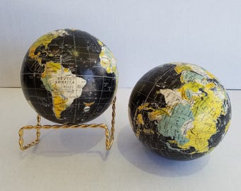 Set of Two Small Black World Globes Without Stands