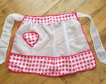 Vintage Red and White Gingham Organza Half Apron
