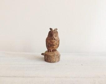 Vintage owl figurine, handcarved wooden trinket, terrarium animal, 70s, jungalow, boho, bohemian