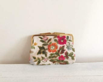 Vintage flower needlepoint coin purse, kisslock, wallet, clutch, phone case, evening bag, Made in West Germany